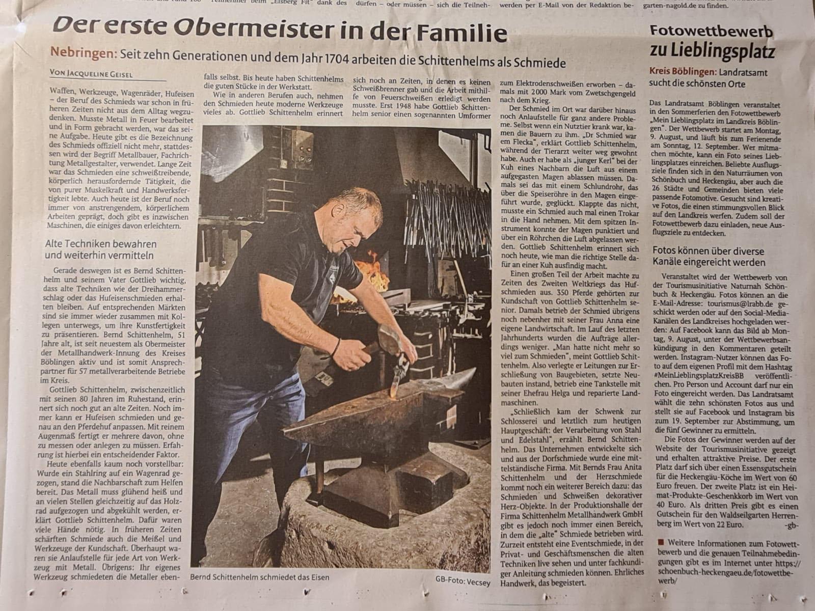 Bernd Schittenhelm: Der erste Obermeister in der Familie